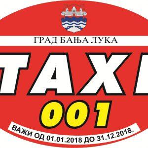 Од понедјељка издавање такси наљепница за 2018. годину